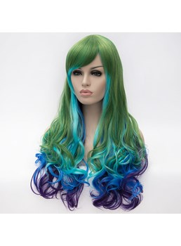 Long Mixed Color Blue Green Purple Wavy Synthetic Hair Capless Cosplay Wigs 28 Inches
