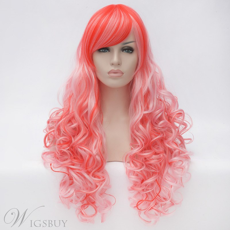 Long Mixed Color Blue Red White Loose Wave Synthetic Hair Capless Cosplay Wigs 30 Inches