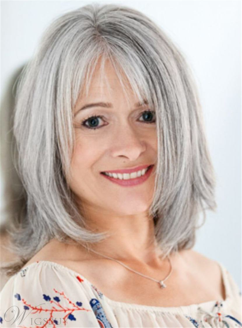 Salt and Pepper Medium Layered Straight Synthetic Hair Capless Wigs for Older Women