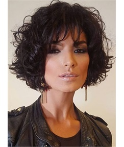 Cheap Short Loose Pixie Hairstyle Soft Synthetic Hair Jerry Curly Lace Front Cap Women Wigs 10 Inches