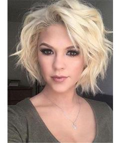 Short Lovely Youthful Straight Synthetic Hair Lace Front Women Wig 8 Inches