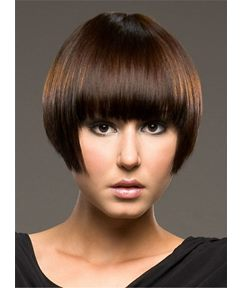 Short Youthful Straight Bob Comfortable Human Hair Capless Women Wig 8 Inches