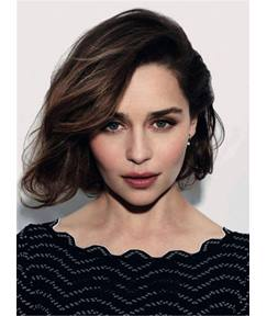 Short Emilia Clarke Straight Human Hair Full Lace Women Wig 10 Inches