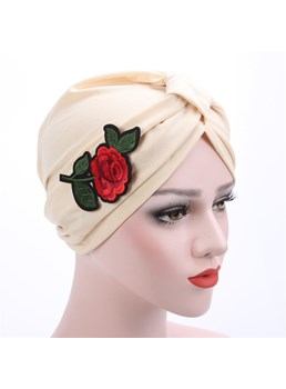Adjustable Cross Patchwork Print Rose Muslim Turban