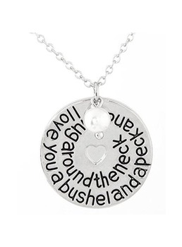 Lettering Round Card Heart-Shaped Pendant Necklace