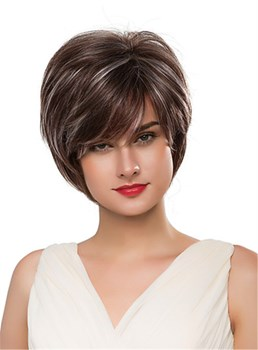 Mishair® Short Straight Loose Layered Human Hair Capless Wig 10 Inches