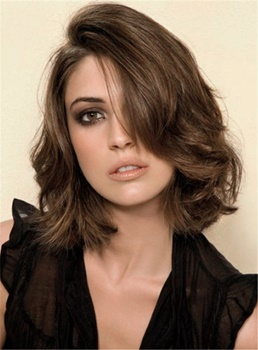 Medium Bob Hairstyle Wavy Enchanting Jerry Curly Synthetic Hair Lace Front Cap Women Wigs 12 Inches