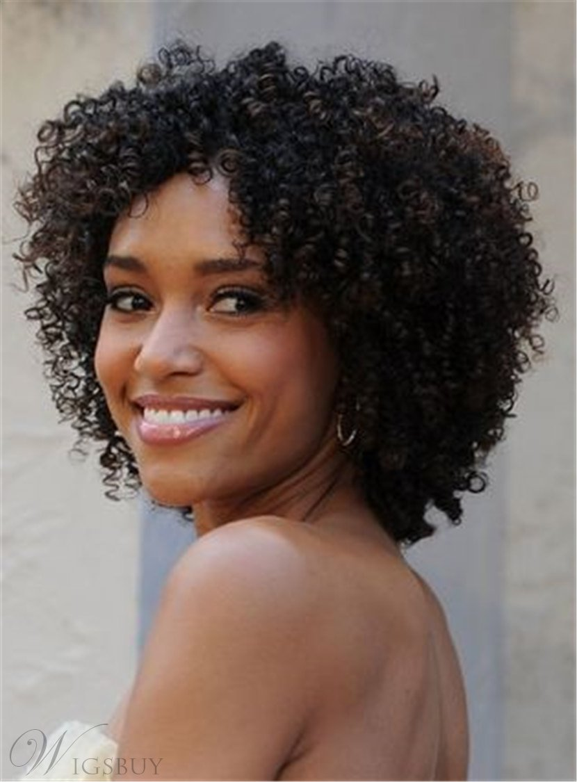 Kinky Curly Bob Center Part Synthetic Hair Medium African American Women Wigs Lace Front Cap 12 Inches