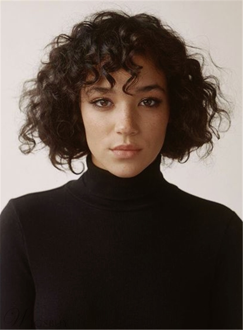 Fashion Shaggy Kinky Curly Wigs Short Synthetic Hair Capless African American Woman Wigs 8 Inches