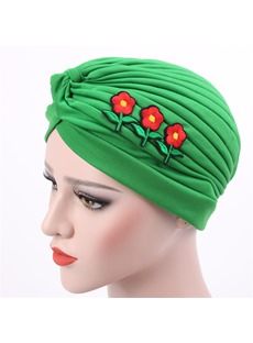 Appliques Pleated Plain Headcloth Muslim Turban
