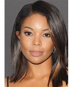 Medium Elegant Straight Attractive Synthetic Hair Lace Front African American Women Wig 14 Inches