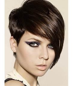 Short Cool Straight Attractive Synthetic Hair Capless Women Wig 6 Inches
