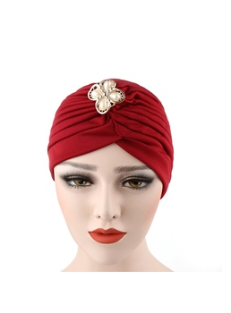 Simple Cotton Headcloth Floral Knitted Muslim Turban