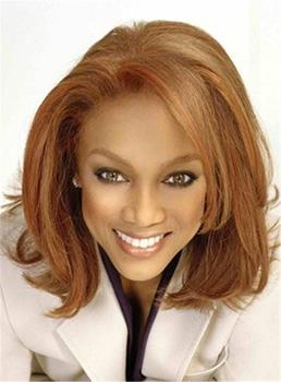 Medium Graceful Straight Attractive Synthetic Hair Lace Front African American Women Wig 14 Inches