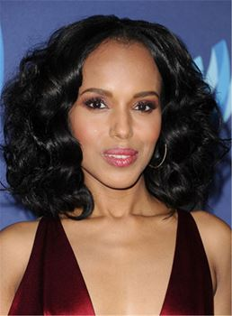 Kerry Washington Natural Black Timeless Glam Loose Wave Blunt Center Part Medium African American Wigs Lace Front Cap 14 Inches