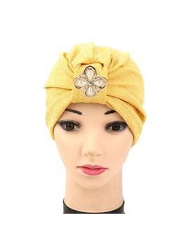 Pearl Alloy Floral Shaped Muslim Turban