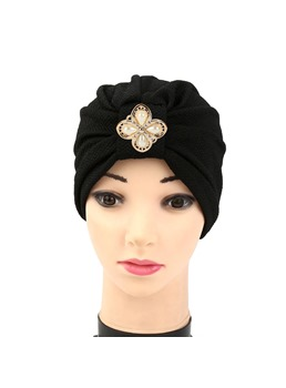 Cotton Pleated Tie-Dye Floral Pearl Indian Turban