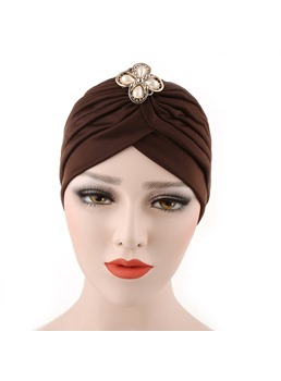 Indian Headcloth Pleated Plain Pearl Floral Turban