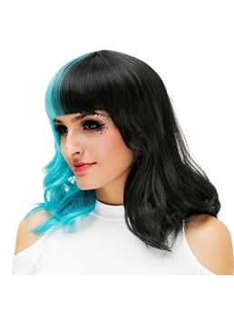 Medium Blue Black Kinky Curly Bob With Bangs Hair Synthetic Hair Capless Cosplay Wigs 16 Inches