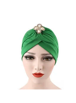 Pleated Floral Pearl Inlaid Plain Indian Headcloth Turban