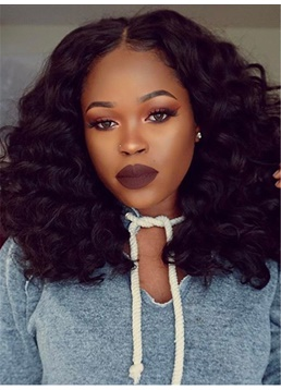 Fashionable Fluffy Natural Curly Synthetic Hair Lace Front Cap Mid-Length African American Wigs 14 Inches