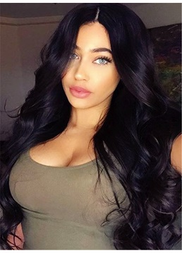 Charming Natural Deep Wavy Black Long Synthetic Hair Lace Front Cap Women 26 Inches