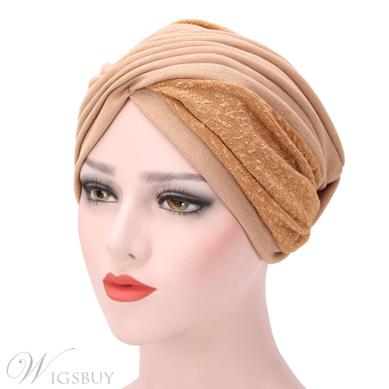 Color Block Patchwork Pleated Indian Muslim Turban