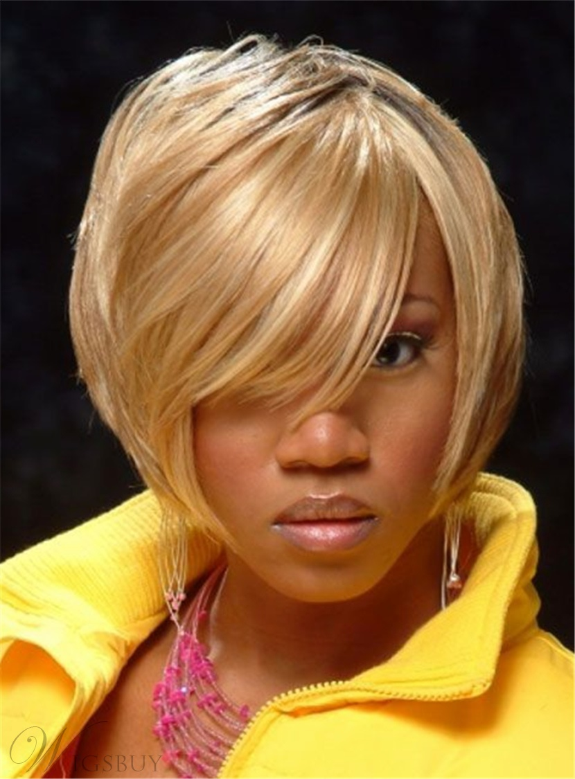 Layered Smooth Soft Golden Black Hair Root Short Straight Synthetic Capless African American Wigs 10 Inches