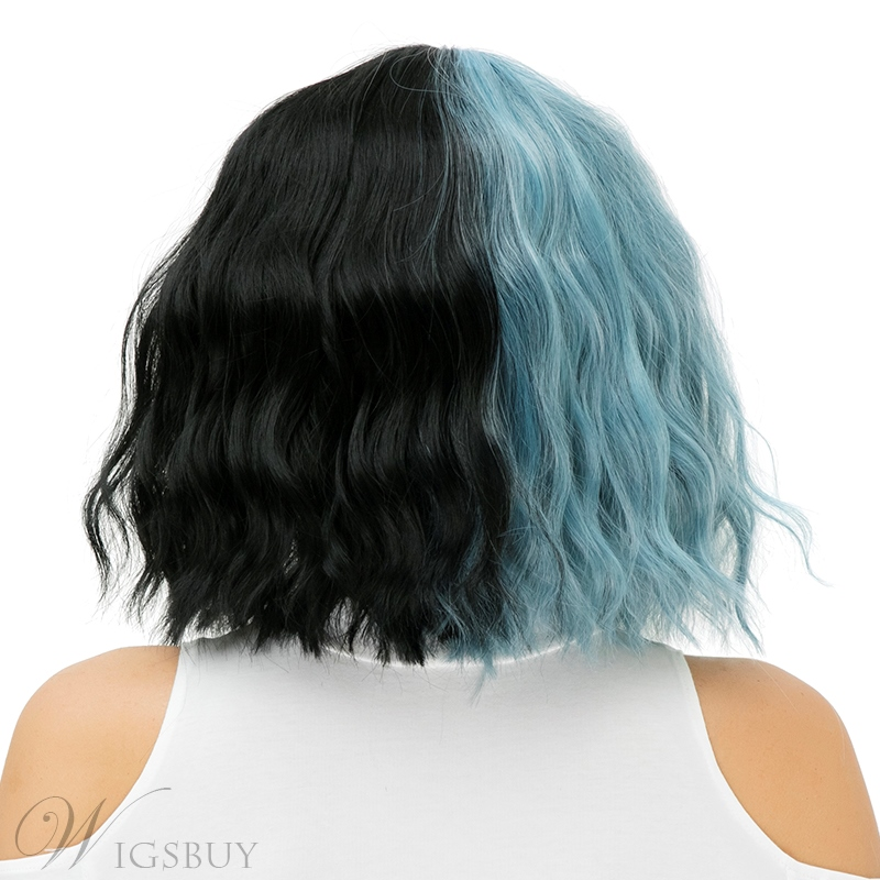 Medium Blue Black Kinky Curly Bob With Bangs Hair Synthetic Hair Capless Cosplay Wigs 12 Inches