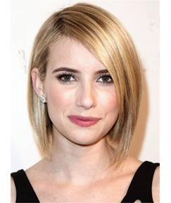 Emma Roberts Short Classical Straight Silky Human Hair Full Lace Women Wig 10 Inches