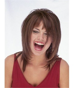 Bob Hairstyle Tilted Natural Straight Human Hair Mid-Length Layered Capless Women Wigs 12 Inches