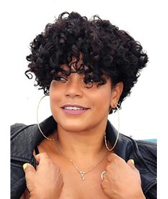 Pixie Messy Natural Black Short Kinky Curly Synthetic Hair With Bangs African American Women Wigs 8 Inches