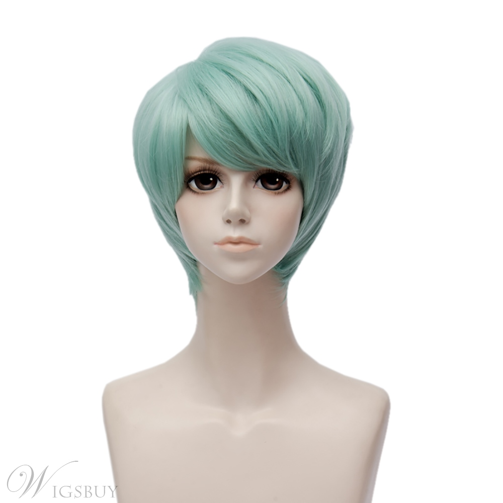 Mystic Messenger Gray Green Straight Synthetic Hair Capless Cosplay Wig 8 Inches