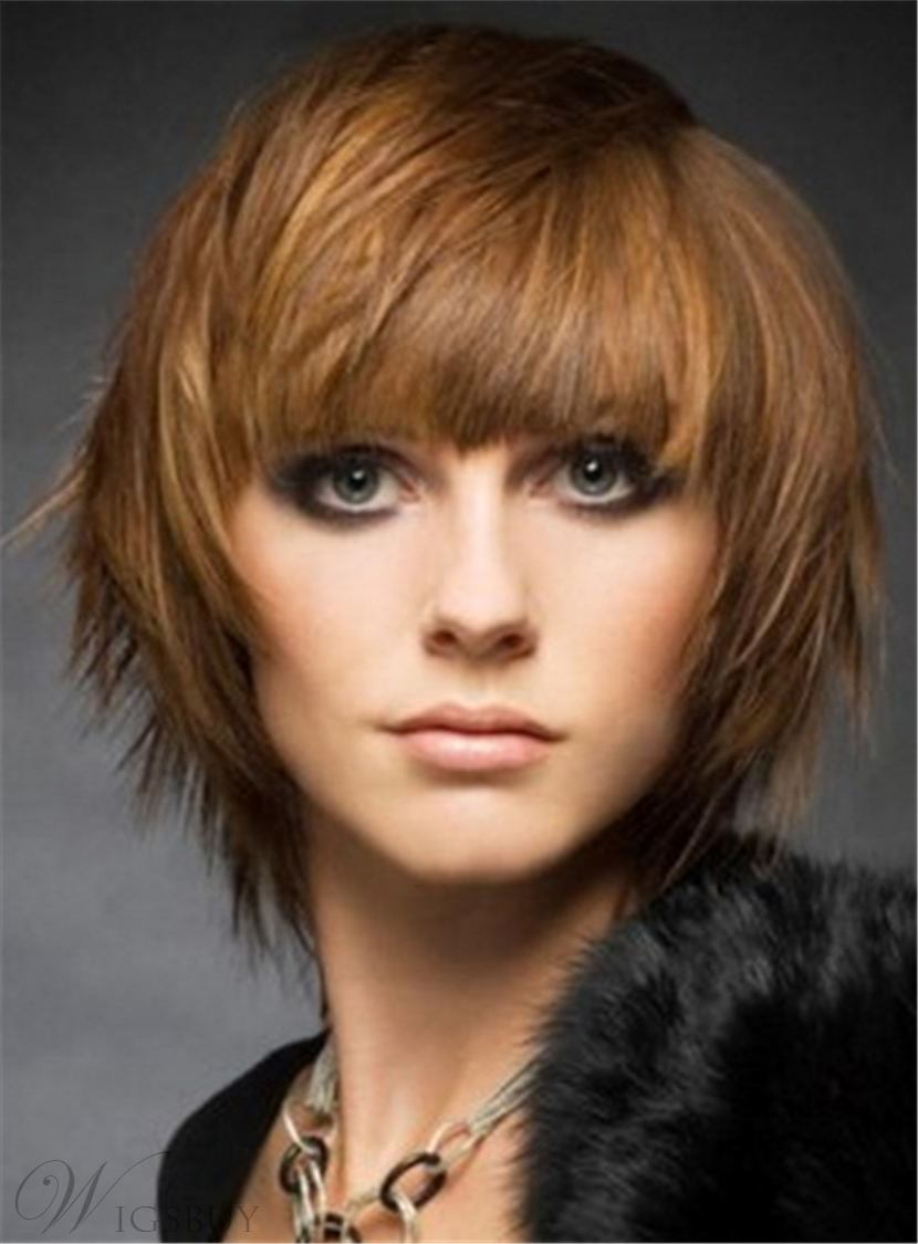 Short Attractive Straight Layered Synthetic Hair Capless Women Wig 8 Inches