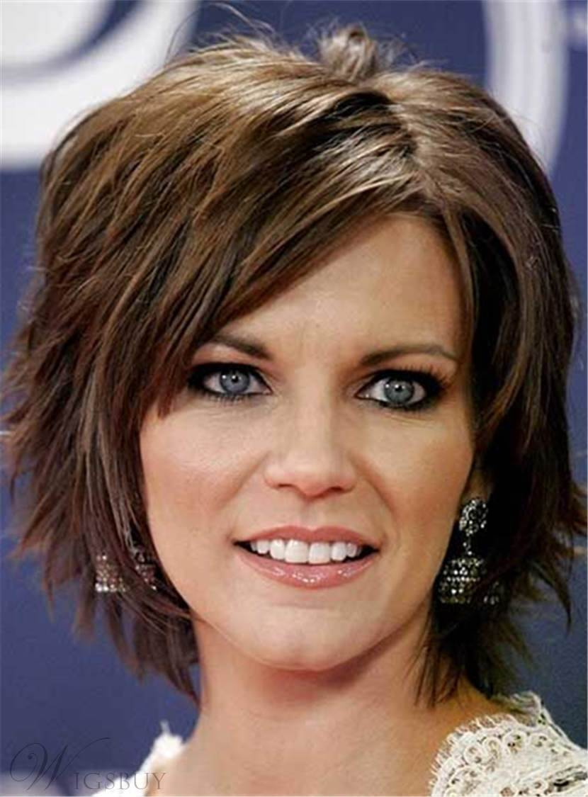 Short Layered Straight Messy Synthetic Hair Capless Women Wig 8 Inches