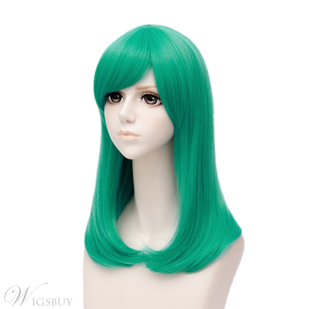 Dragon Ball Burma Dark Green Straight Synthetic Hair Capless Cosplay Wig 18 Inches