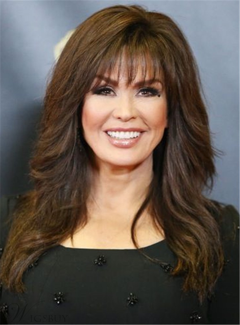 Marie Osmond Full Bangs Long Wavy Synthetic Hair Women