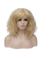 Golden Short Wavy Capless Synthetic Wig 14 Inches