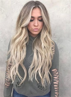 Charming Sexy Long Fashionable Wavy Enchanting Synthetic Hair Lace Front Women Wig 26 Inches