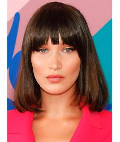 Medium Natural Straight With Bangs Synthetic Hair Capless Women Wig 14 Inches