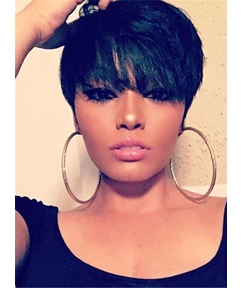 Natural Short Loose Pixie Hairstyle Straight Human Hairs Capless African American Women Wigs 6 Inches