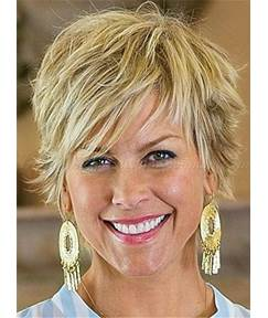 Short Straight Pixie Hairstyle Human Hair Capless Women Wigs for Older Women