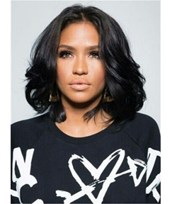 Medium Bob Hairstyle Wavy Synthetic HairLace Front Cap African American Women Wigs 12 Inches