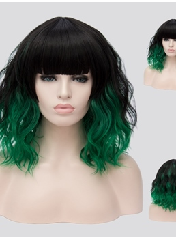 Mixed Color Medium Wavy Capless Synthetic Wig 14 Inches