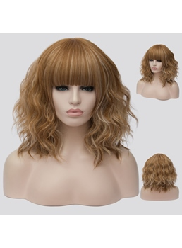 Brown Short Wavy Synthetic Wig 14 Inches