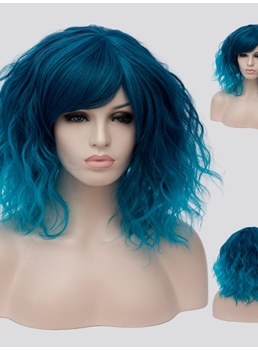 Blue Medium Wavy Capless Synthetic Wig 14 Inches