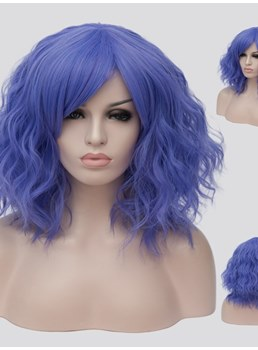 Purple Short Wavy Capless Synthetic Wig 14 Inches