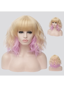 Flat Bang Bob Medium Wavy Capless Synthetic Wig 14 Inches