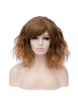 Brown Short Wavy Capless Synthetic Wig 14 Inches