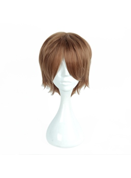 Short Layered Straight Brown Cosplay Wig 14 Inches